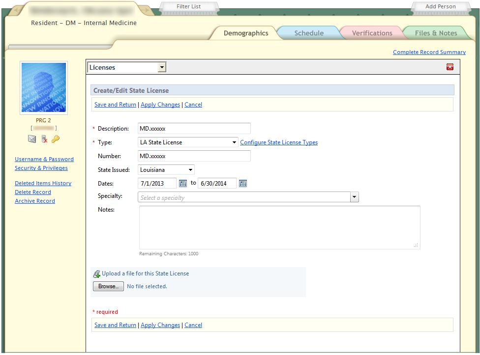 The Description and Number fields both must contain the license number issued by the LSBME.