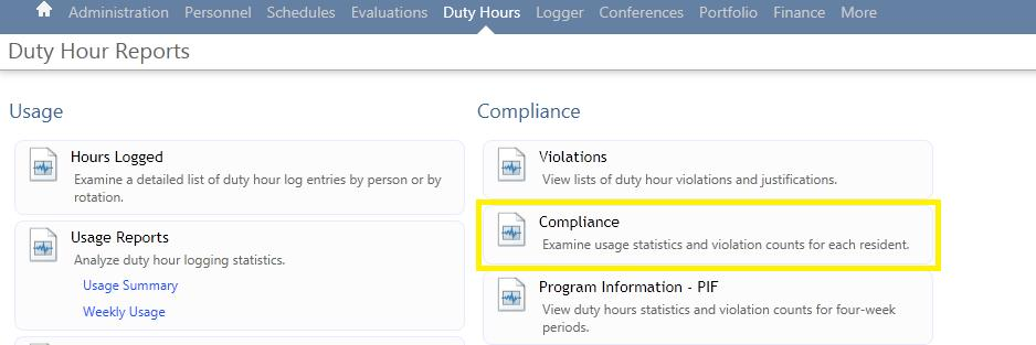 Duty Hour Compliance Report Log into New Innovations, click on Duty Hours, and then click on Reports Click the Compliance report button on