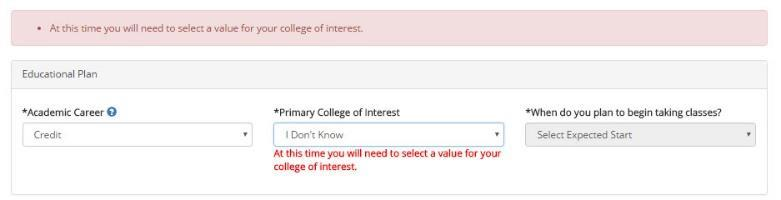 Credit applicants select the expected start date or term in the *When do you plan to begin taking classes? field.