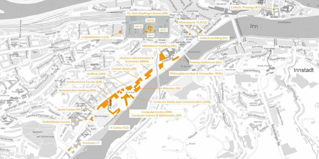 Map of Passau showing the university buildings Contact information University of Passau Innstrasse 41 94032 Passau +49 851