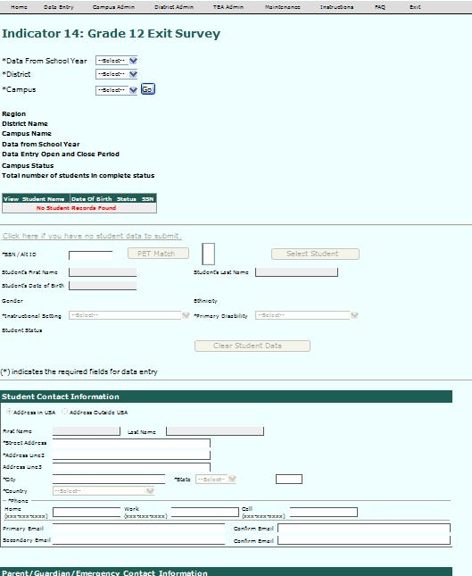 View of Data Entry page SPP 14 District Information