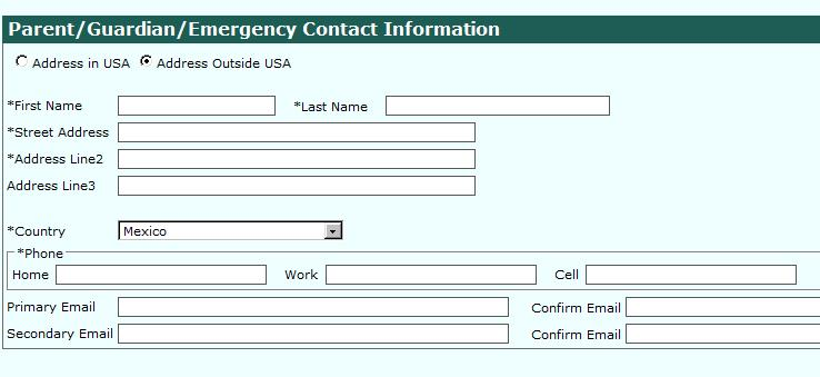 Data Entry : Outside of USA- Parent/Guardian Contact Information Parent: Enter required information (*).