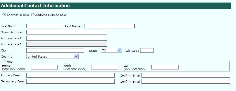 Data Entry : Additional Contact Information
