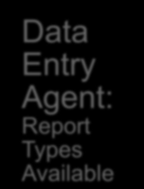 Report Type: Data Entry Agent Data Entry Agent: Report Types Available