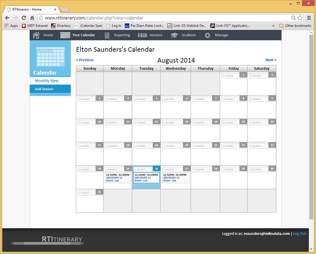 Understanding the Web Site Calendar Monthly View