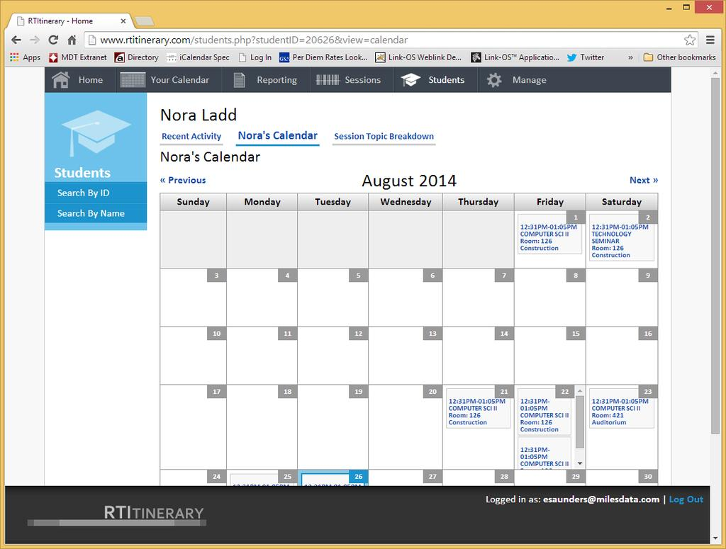 Student Calendar Use this page to view the