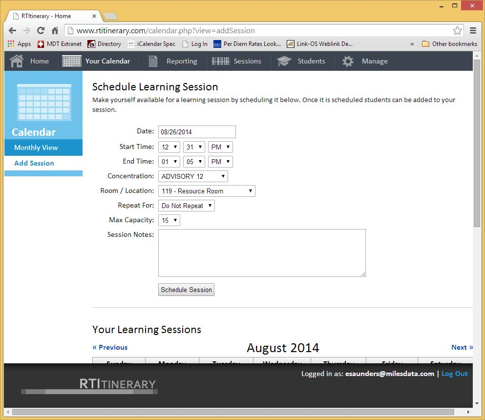 9. Click the Schedule Session button