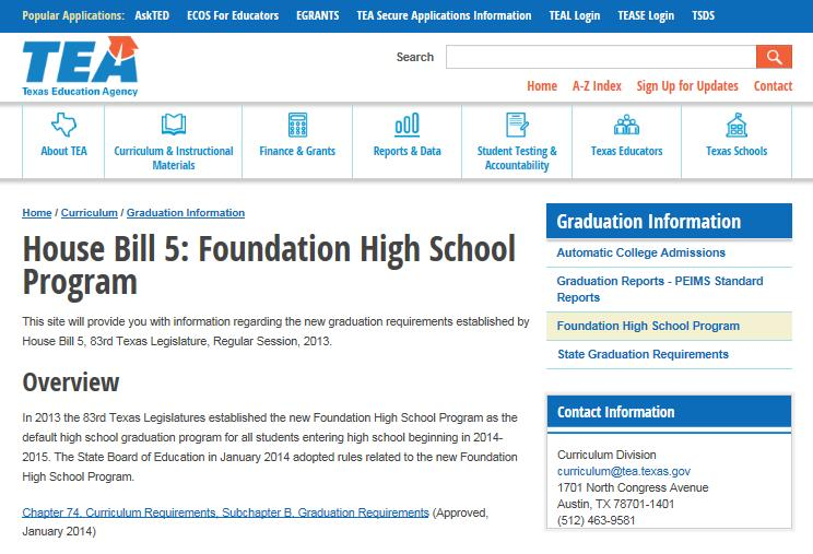 Text of House Bill 5 Section 16 Graduation Requirements http://tea.texas.