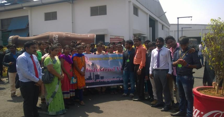 School of Management Studies Organised Industrial visit to Hindustan COCOCOLA BEVERAGES PVT LTD ON