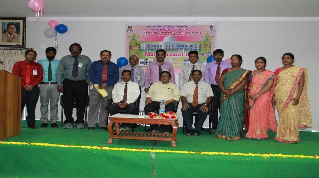 Laki Reddy Bali Reddy Garu The School of Management Studies Organized a Management Day 2016 on 20/02/2016 held in Louts Seminar Hall the Chief guest of programme is our LBRCE founder Chairman, Sri Er.