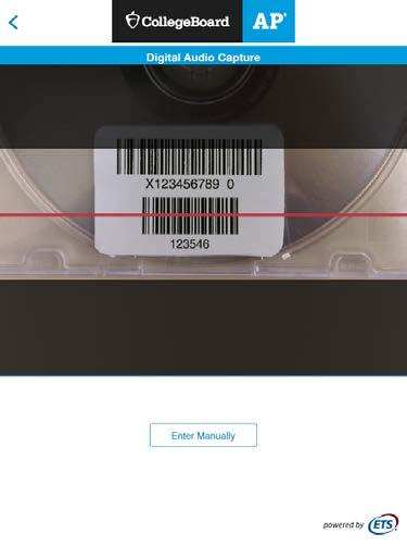 4. To scan, activate the camera by tapping and placing the red line directly over the barcode.