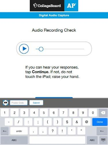 Tap Re-record for the student(s) to re-record their responses. The app will return to the Record AP Number screen (Section 2: Recording and Uploading Responses, step 6.