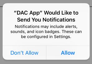 You ll also be prompted to allow the app to send notifications. Select Allow.