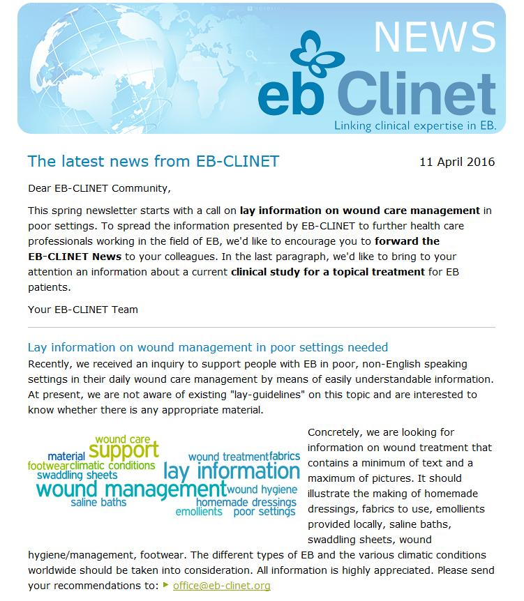 EB-CLINET Examples (1) Question from Singapore: Do you have information material on wound care for low resource countries?
