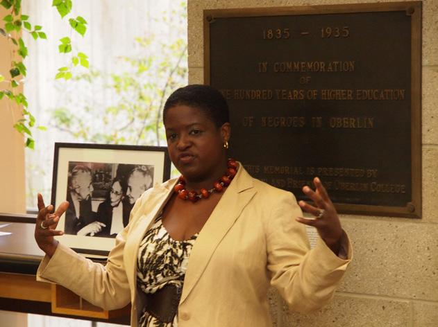 AFRICAN AMERICAN EDUCATION PLAQUE REDEDICATED Meredith Gadsby A bronze plaque commemorating 100 years of African American education at Oberlin was reinstalled in the Main Library during a ceremony on