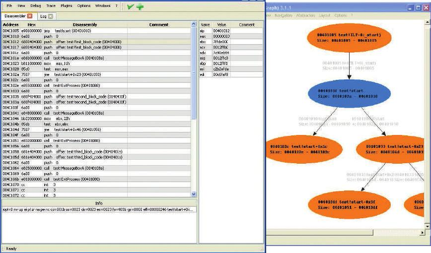 Figure 5.16: Dynamic Mapping A visual debugger for malware analyis which is using node-link diagrams with replay capabilities to show the execution flow of a malware sample over time (Yee et al.