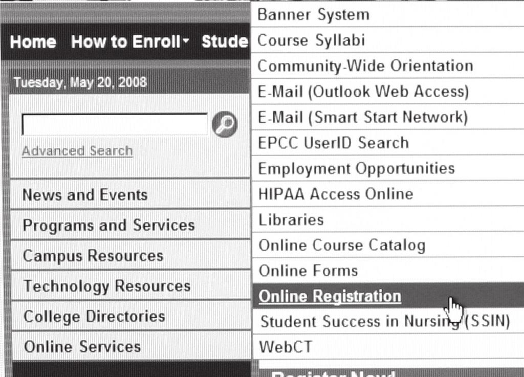 epcc.edu 5. Click on Registration 2.