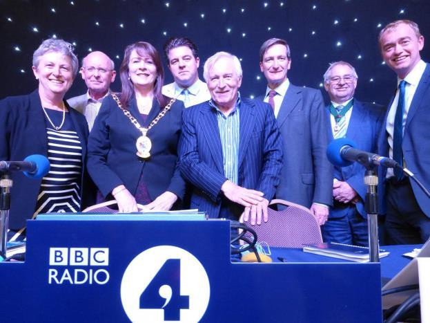 for the politicians and presenter to mingle with the audience in the hall and the bar of the Town Hall after a very successful broadcast. Any Questions Panel and Cheshire East Mayor. #03.