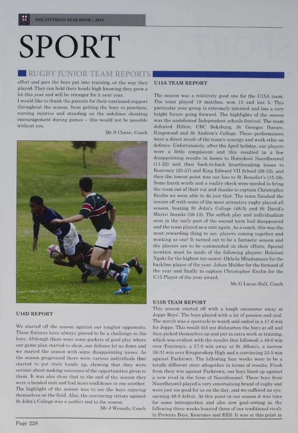 v SPORT - RUGBY IL'N[OR '[l M Rl5PORTS effort and gel-x the hoys put into training. or the way they played.