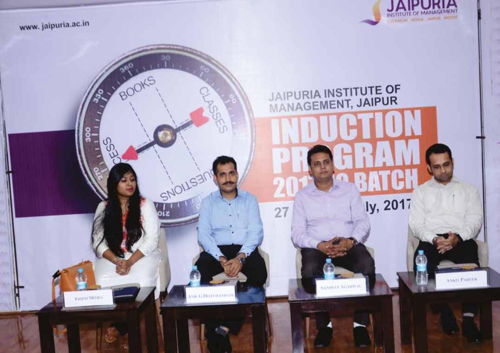 ALUMNI PANEL DISCUSSIONS First Alumni Panel Discussion during Induction Program of PGDM (2017-19) on July 3, 2017: The Induction Program @ Jaipuria Jaipur progressed to Day 7 (July 3, 2017) with even