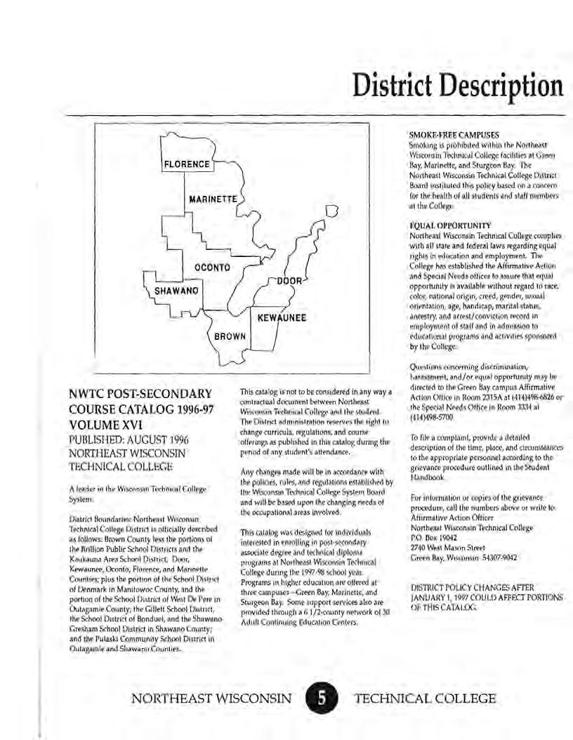 "District Description FLORENCE BROWN DOOR KEWAUNEE 0 S~f OKE-FREECAMPUSES Smokmg IS prohtbitfd Wllh1n lhf Norfhfist WtSCOn>in Ttdlnical Colkgt lacd1h<> 11 Glft<I S.y. Marin<tlf, nd Sc""""' "" S."