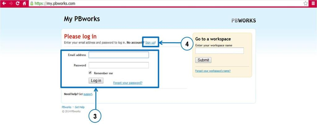 3. If you have already registered for an account in PBworks, please fill in