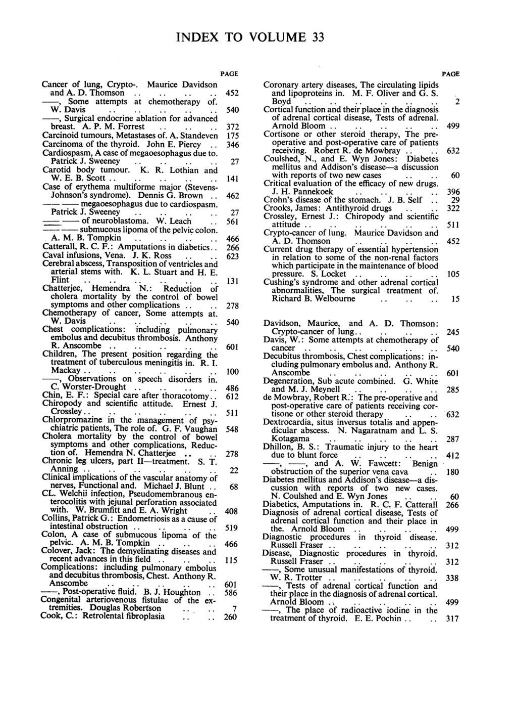 INDEX TO VOLUME 33 Cancer of lung, Crypto-. Maurice Davidson and A. D. Thomson, Some attempts at chemotherapy of. W. Davis, Surgical endocrine ablation for advanced breast. A. P. M. Forrest Carcinoid tumours, Metastases of.