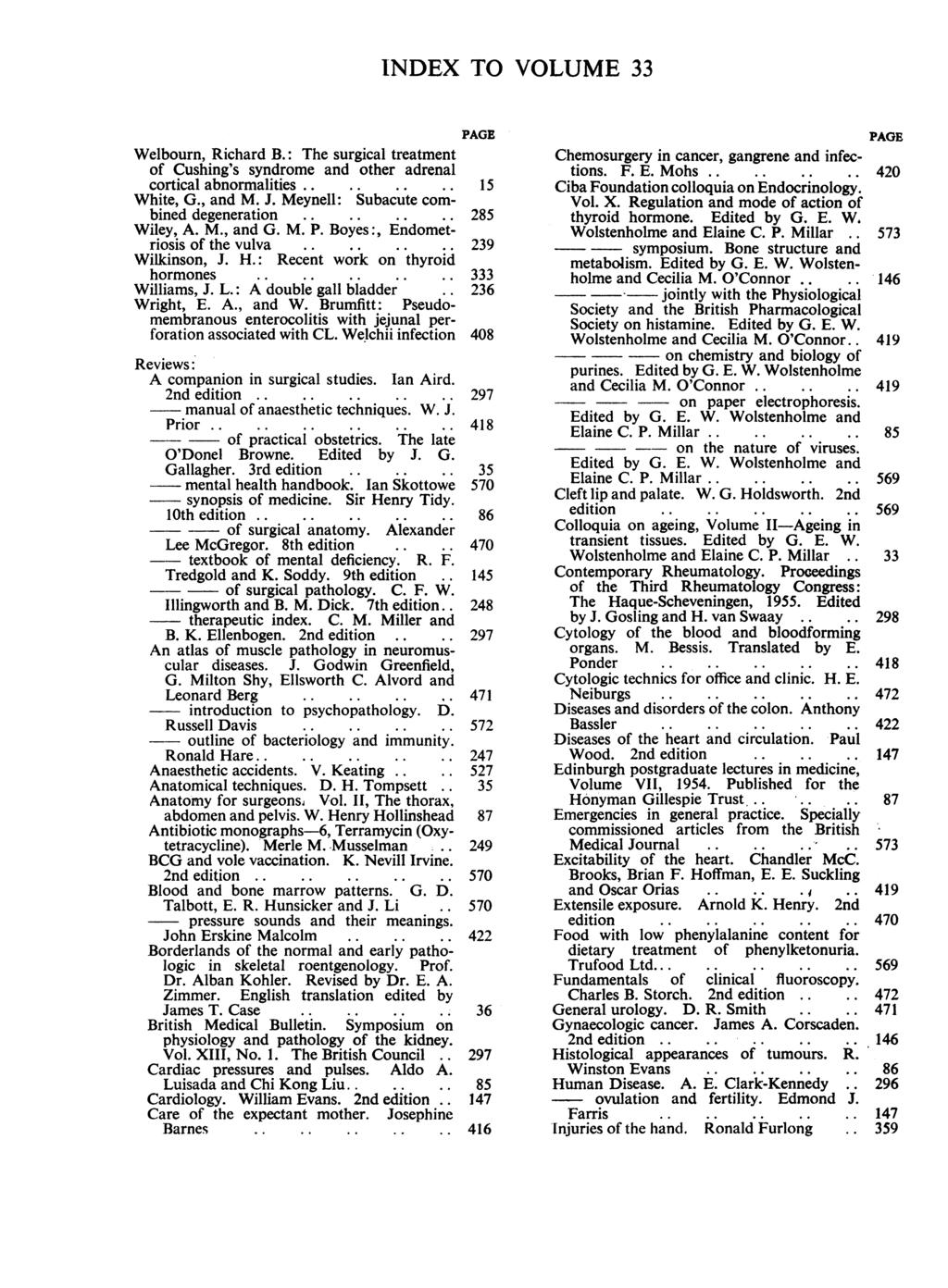 INDEX TO VOLUME 33 The surgical treatment Welbourn, Richard B.: of Cushing's syndrome and other adrenal cortical abnormalities...... 15 White, G., and M. J. Meynell: Subacute combined degeneration.