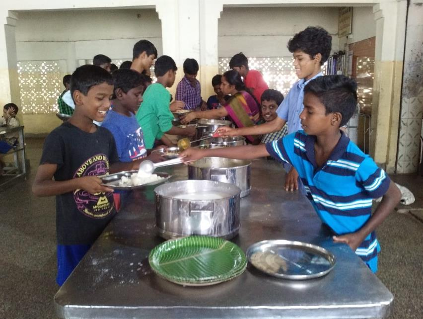22.7.2018: Sai Baba Temple members, from Bhavanipuram, Vijayawada provided cooked lunch to our children at
