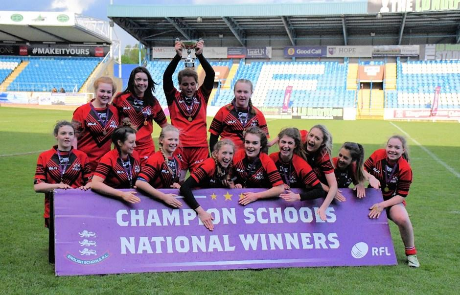 Girls Rugby Year 11 National Champions The Year 11 Girls were recently crowned national Champions for the second year running after winning the Yorkshire Cup for the 3rd Year.