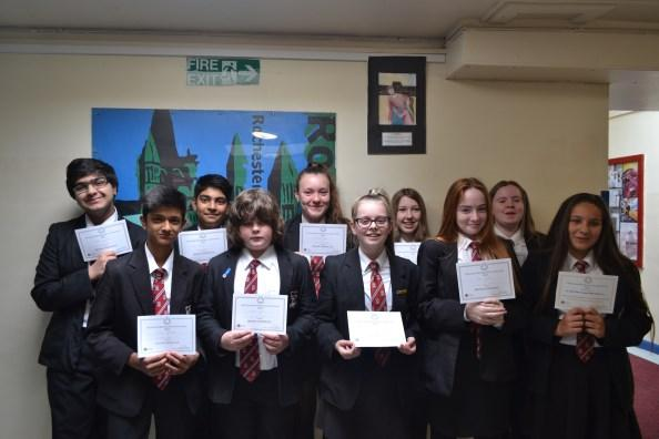The following students were awarded certificates: Gold Silver Bronze Year 7 Year 8 Jenny Hepworth (best in year) Karlos Pontanilla Arooba Kaini Isa Dingmar Yumnaa Akram Emily Tattersfield
