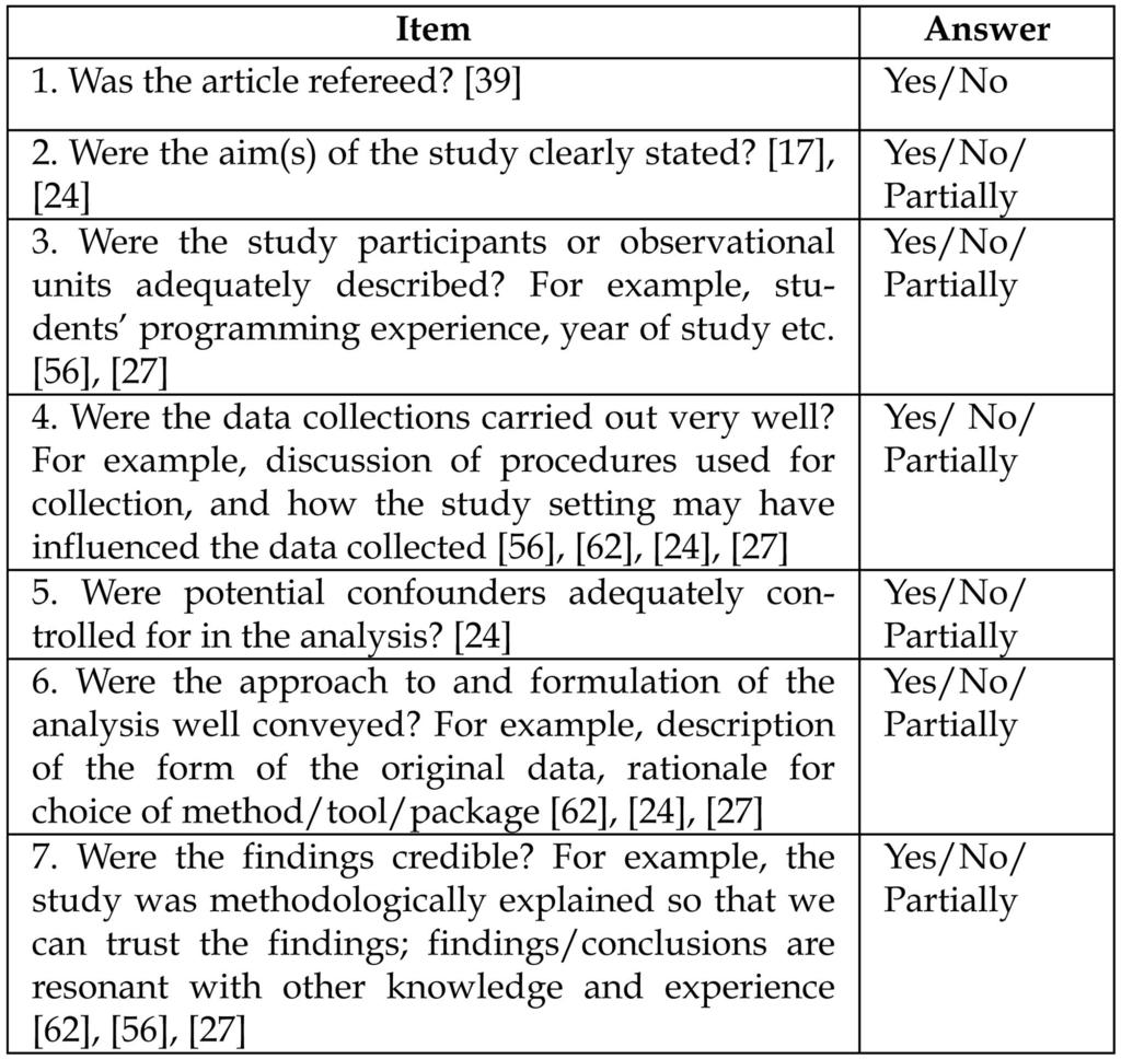 512 IEEE TRANSACTIONS ON SOFTWARE ENGINEERING, VOL. 37, NO. 4, JULY/AUGUST 2011 TABLE 2 Study Quality Checklist Fig 2. Studies by research approach. 3 RESULTS 3.