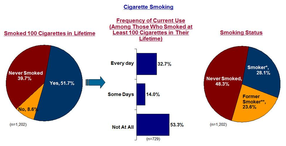 HEALTH AND SAFETY Smoking Over one-half of St. Clair County adults are either smokers or former smokers. 28.1% of county adults are smokers while 23.6% are former smokers.