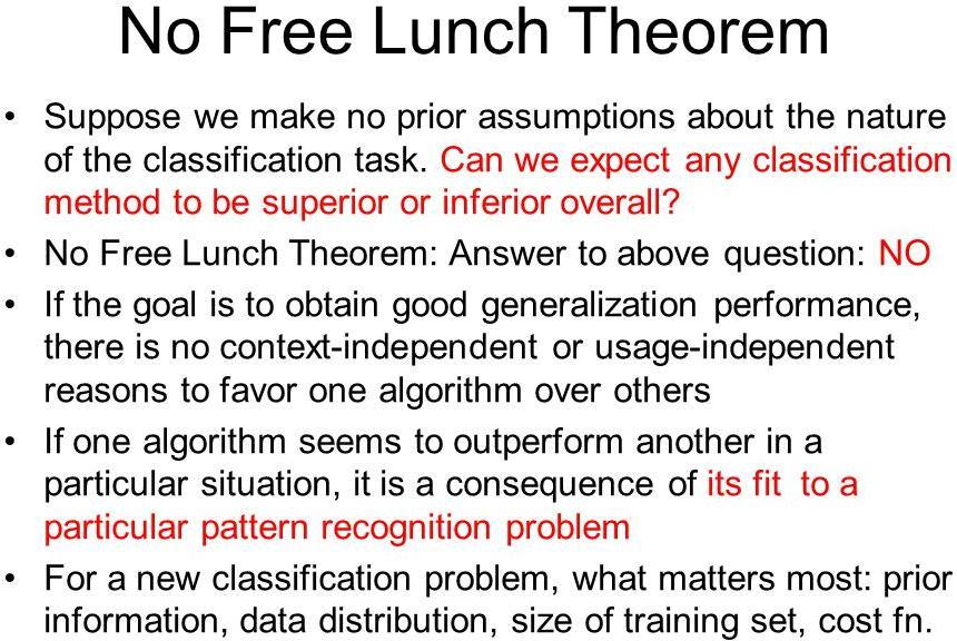 No Free Lunch Rule Assumptions needed for Dataset Training set and Test set are come from the same distribution Assumptions needed for Properties Making assumptions on what kind of function to
