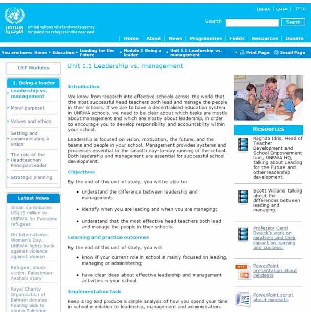 On the UNRWA website, LftF has a page from which the