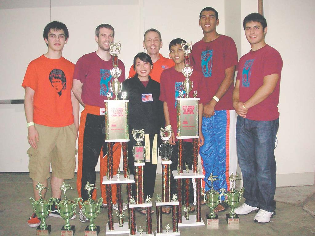 (CC); Tamara Wilson-1st form (CC); Coach Neil Ehrlich; Rohit Eyyunni-finalist continuous fight (CC); Sreekar Eyyunni-1st continuous fight (CC); Max Ehrlich-1st southern form and short weapon (CO),