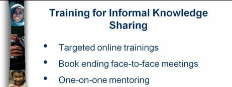 Communities of practice Access to Experts Mentors Knowledgebanks Audience: Volunteer Main Business: