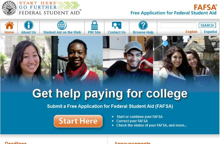 The FAFSA Main page