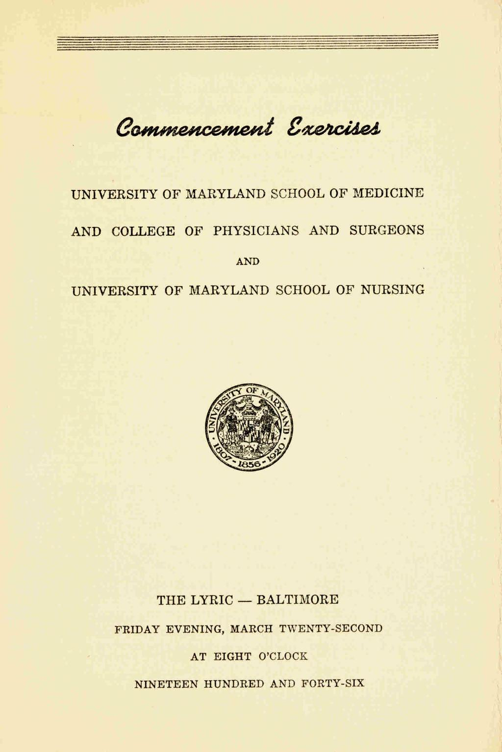 University of Maryland School of Medicine and College of Physicians ...