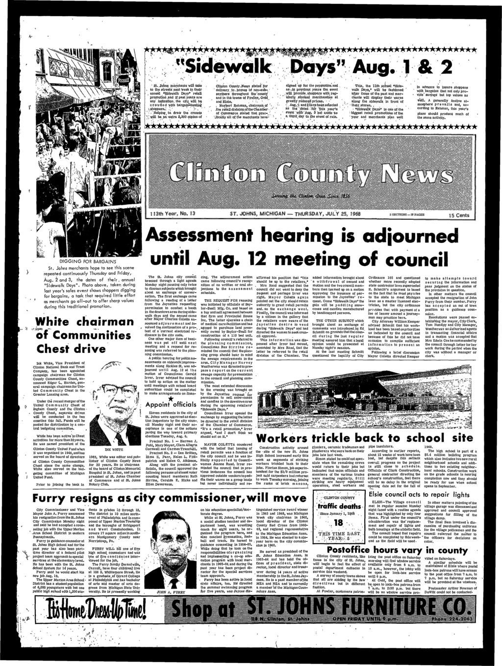 Clinton County ^News siated'for ' delivery ^ io.jtiomei? of